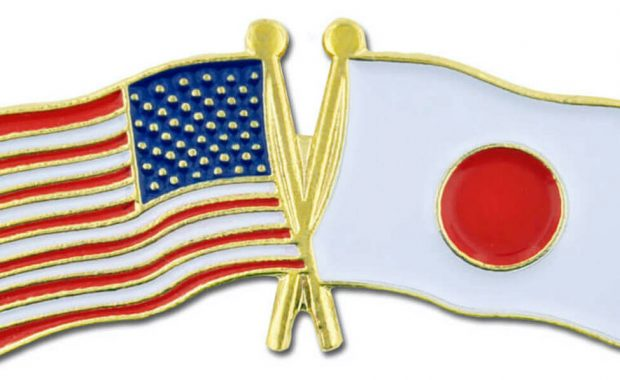 usa japan flags